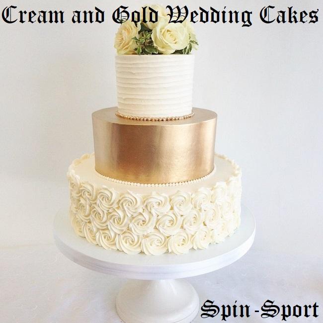 Cream and Gold Wedding Cakes